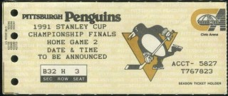 1991 Stanley Cup Final Game 2 ticket stub North Stars Penguins 175