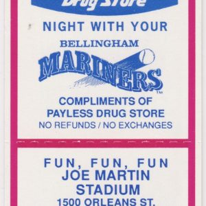 1992 Bellingham Mariners ticket stub vs Yakima