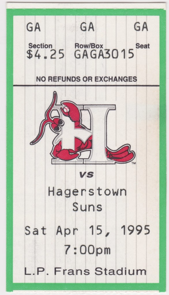 1995 Hickory Crawdads ticket stub vs Hagerstown