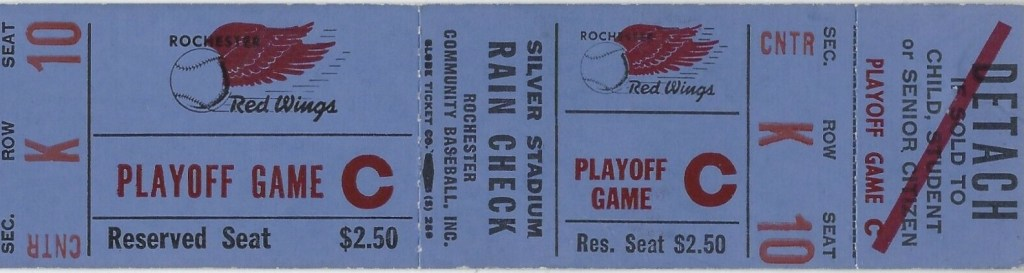 1964 Rochester Red Wings Playoff Game Unused Ticket