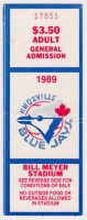 1989 Knoxville Blue Jays ticket stub