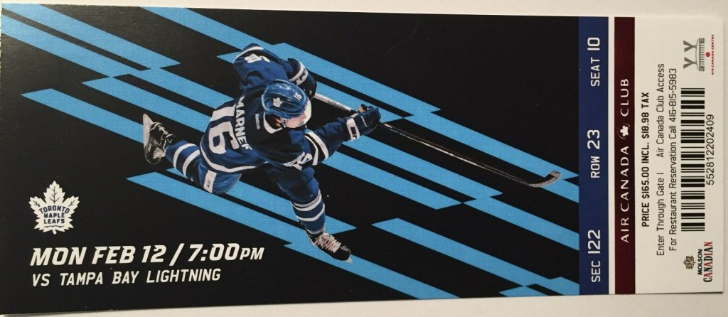 2018 Toronto Maple Leafs ticket stub vs Tampa Bay