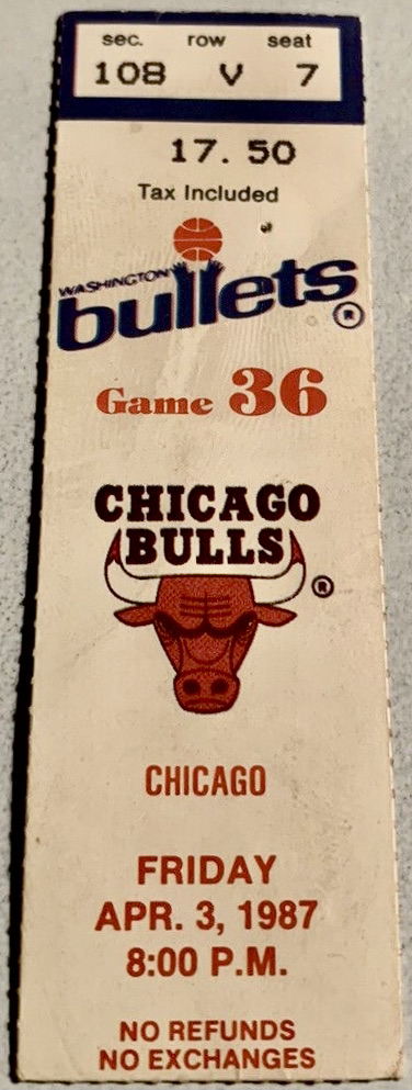 1987 Washington Bullets ticket stub Michael Jordan 32 Points