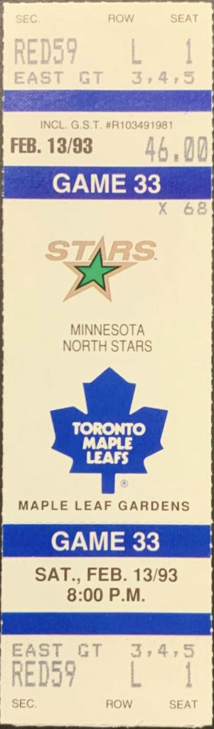 1993 Toronto Maple Leafs unused ticket vs North Stars