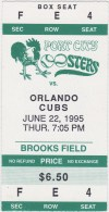 1995 Port City Roosters ticket stub vs Orlando Cubs