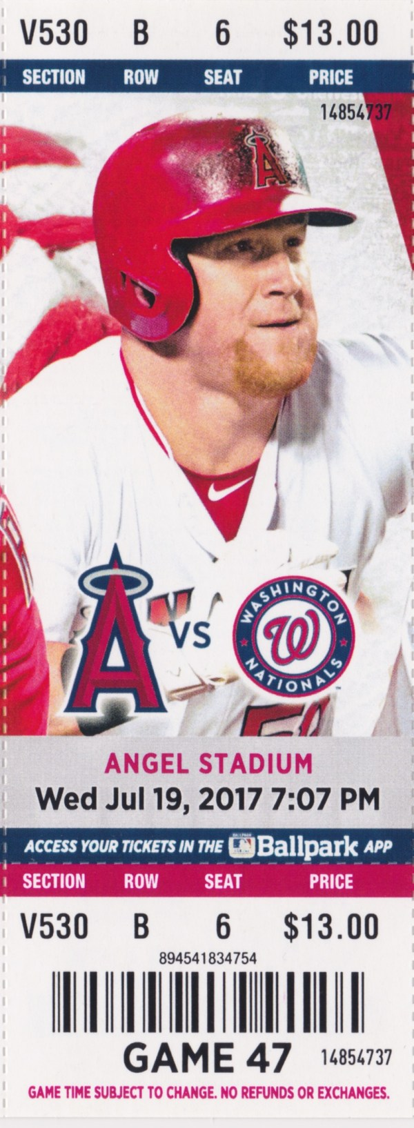 2017 Angels Full Ticket vs Nationals Jul 19 Mike Trout HR