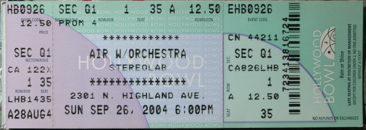 2004 Air with Stereolab Ticket Stub Hollywood Bowl
