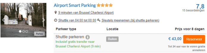 Voorbeeldboeking parkeren Brussel Charleroi