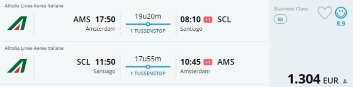 Voorbeeldboeking Amsterdam - Santiago 5 - 19 oktober