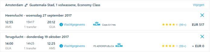 Voorbeeldboeking Guatemala KLM