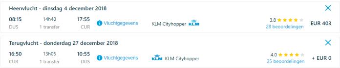 Voorbeeldboeking Curacao 4 - 27 december via KLM