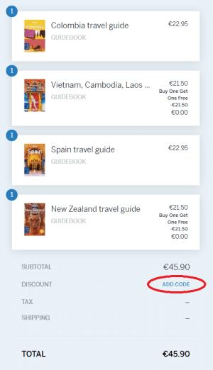Voorbeeld aankoop Lonely Planet kortingscode