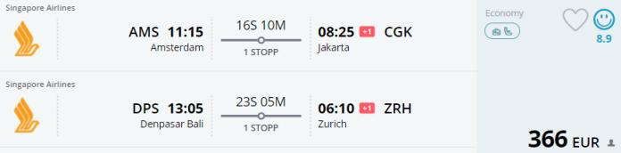 Voorbeeldboeking AMS - Jakarta & Bali - Zurich 4 - 25 juni