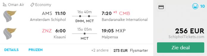 Voorbeeld Amsterdam - Colombo & Zanzibar - Milaan