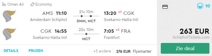 Voorbeeld Amsterdam - Jakarta - Frankfurt