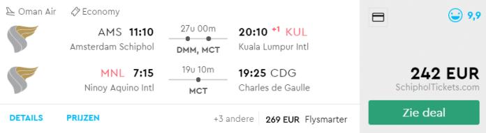 Voorbeeld Amsterdam - Kuala Lumpur & Manilla - Parijs