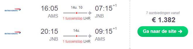 Voorbeeldboeking Johannesburg 1 - 8 december British Airways