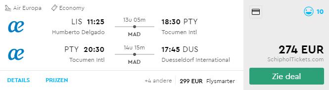 Voorbeeldboeking Lissabon - PTY - Dusseldorf