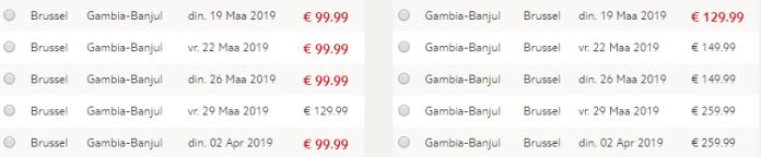 Voorbeeld prijzen Gambia