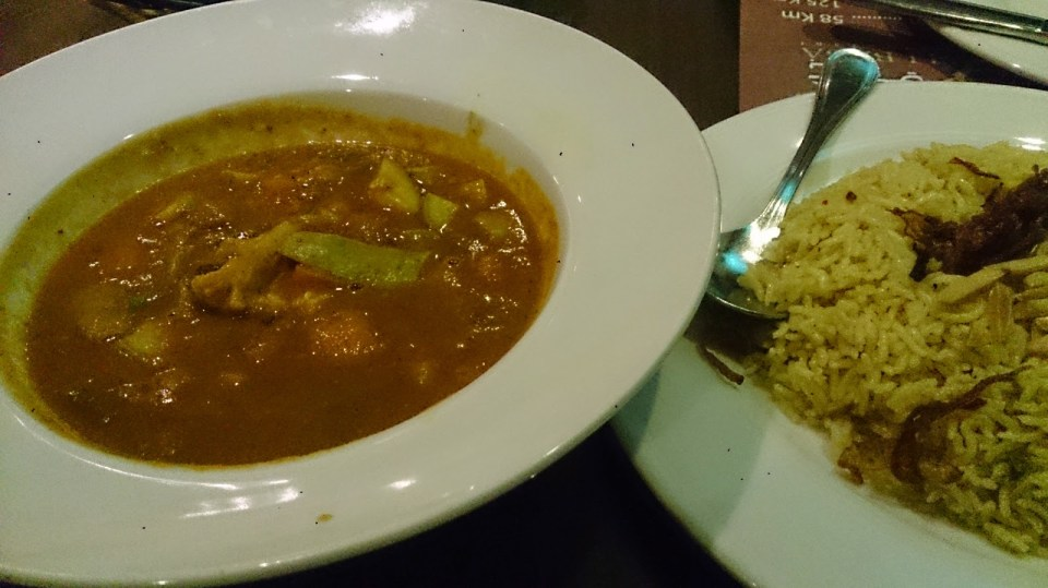 Vegetable curry and rice at Ali Baba - highly recommended