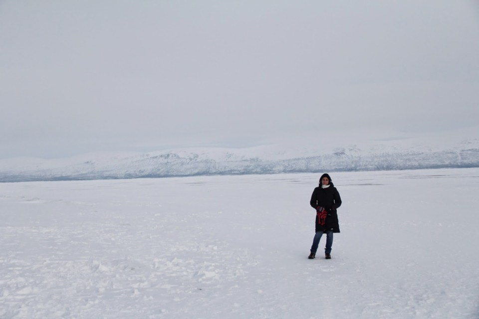 Standing on the frozen Abisko Lake