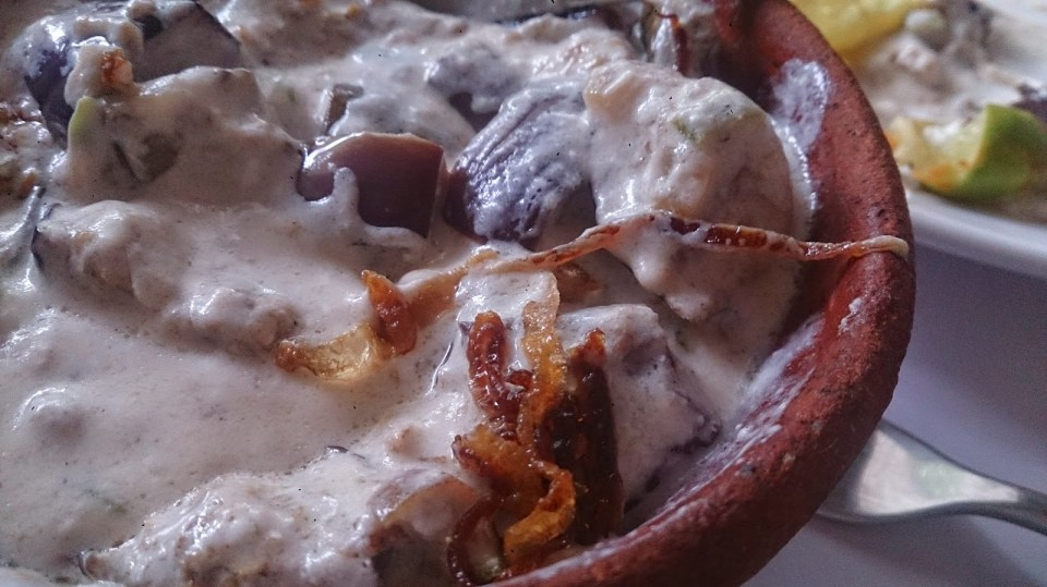 Fort Kochi: Eggplant and yogurt at Fusion Bay