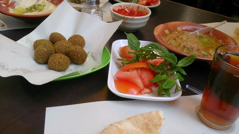 Vegetarian fare at Hashem's in Amman, Jordan