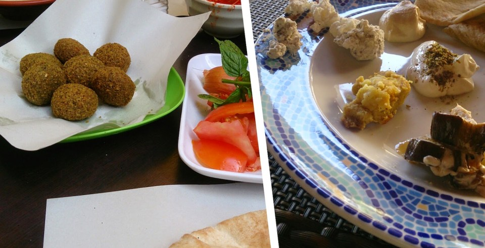 Jordan: Falafels and various kinds of cheese with flat bread
