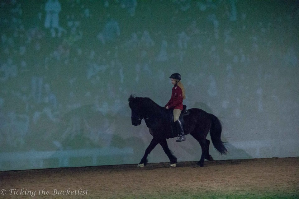 A young rider demonstrating a gait
