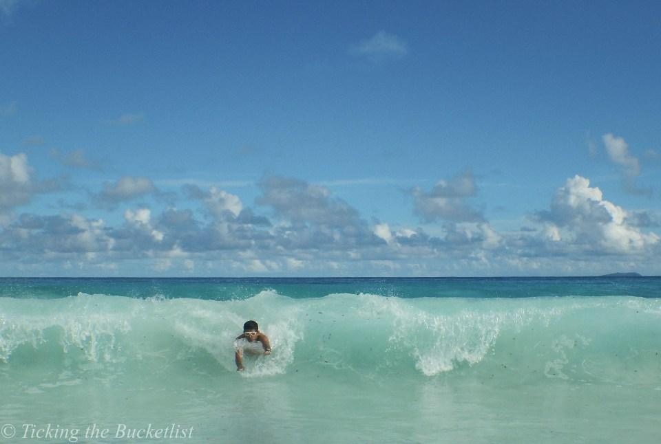 Body surfing at Grande Anse, La Digue