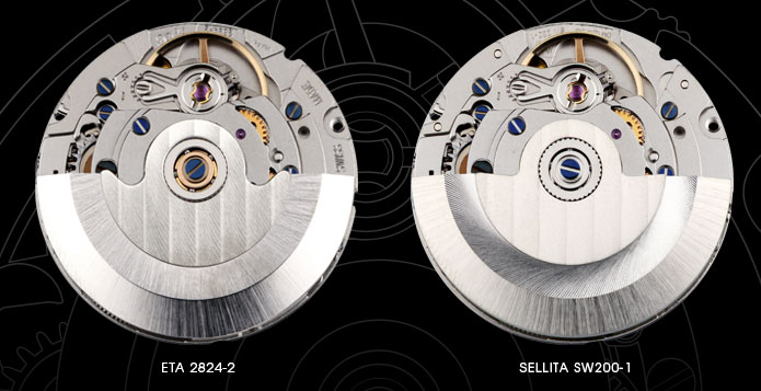 ETA 2824-2 and Sellita SW200-1 comparison, as show by Christopher Ward (http://www.christopherward.co.uk/blog/the-eta-v-sellita-story/)