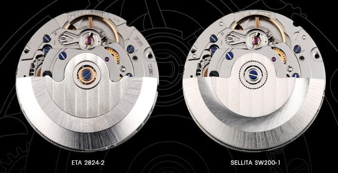 ETA 2824-2 and Sellita SW200-1 comparison, as show by Christopher Ward (http://www.christopherward.co.uk/blog/the-eta-v-sellita-story/)