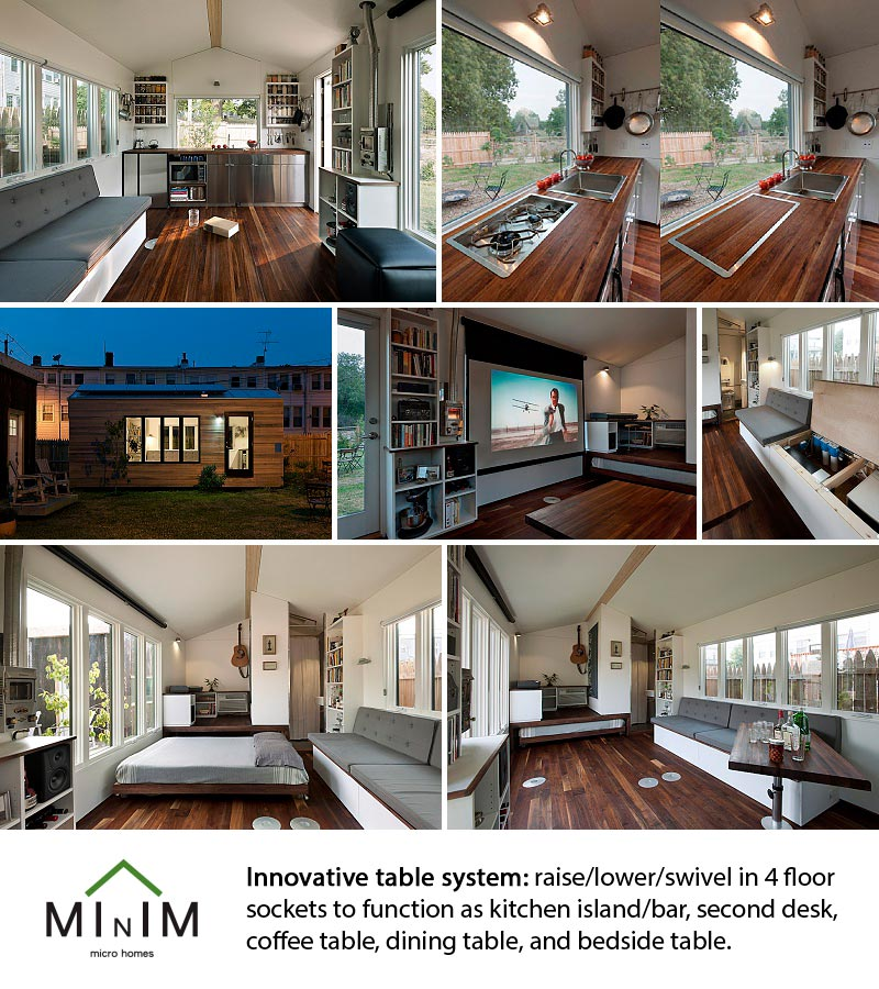 Minim Homes tiny house design with awesome re-positionable table