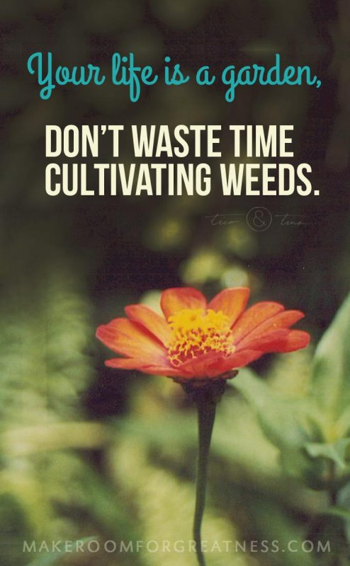 Your life is a garden, don't waste time cultivating weeds. ~Tico&Tina | MakeRoomforGreatness.com, simplify, minimalism