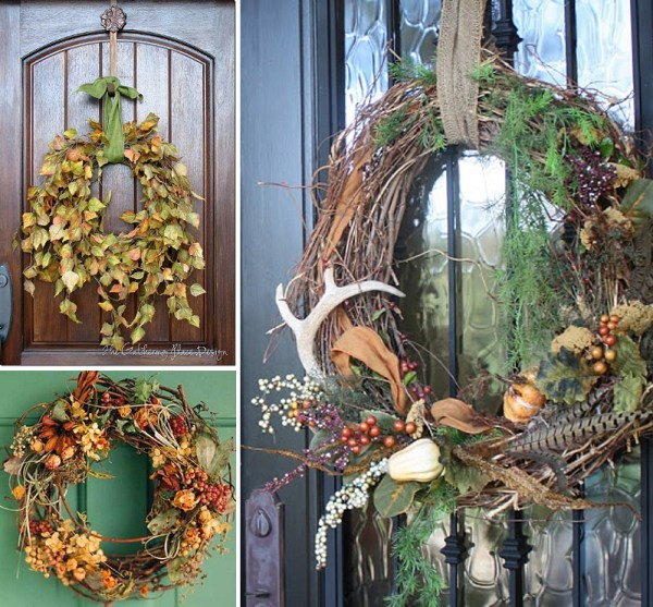 minimalist holiday decor - good base items as part of your regular decor that you can just customize for each holiday or season | nature decor, fall wreath, fall decor, thanksgiving decor