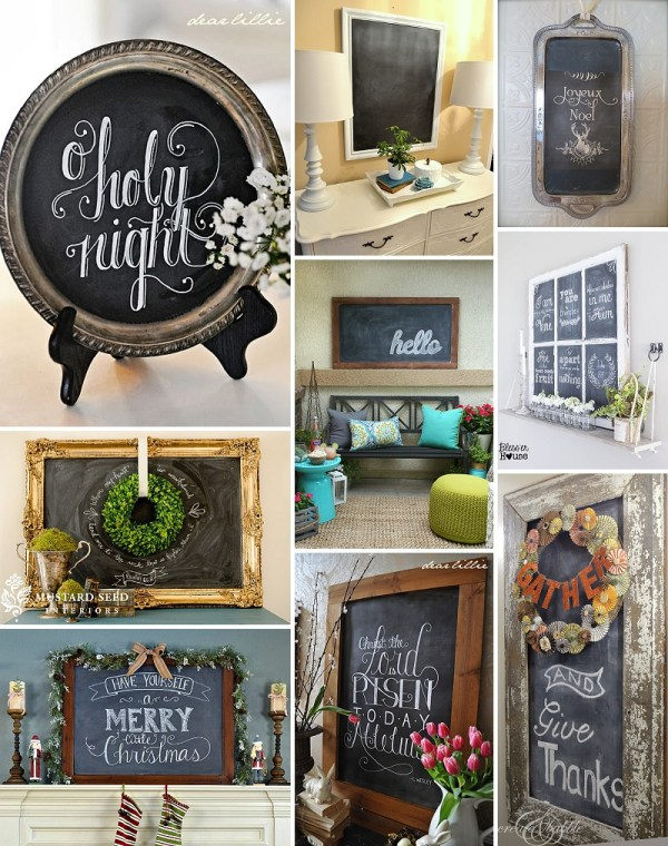 minimalist holiday decor - good base items as part of your regular decor that you can just customize for each holiday or season | chalkboard decor, winter chalkboard, christmas chalkboard, fall chalkboard, spring chalkboard, summer chalkboard