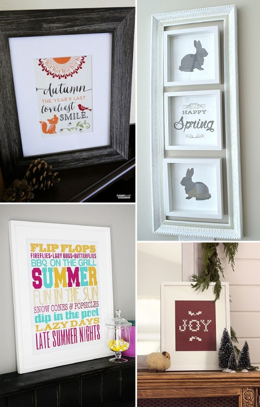 minimalist holiday decor - good base items as part of your regular decor that you can just customize for each holiday or season | fall frame, spring frame, summer frame, winter frame, printable decor,