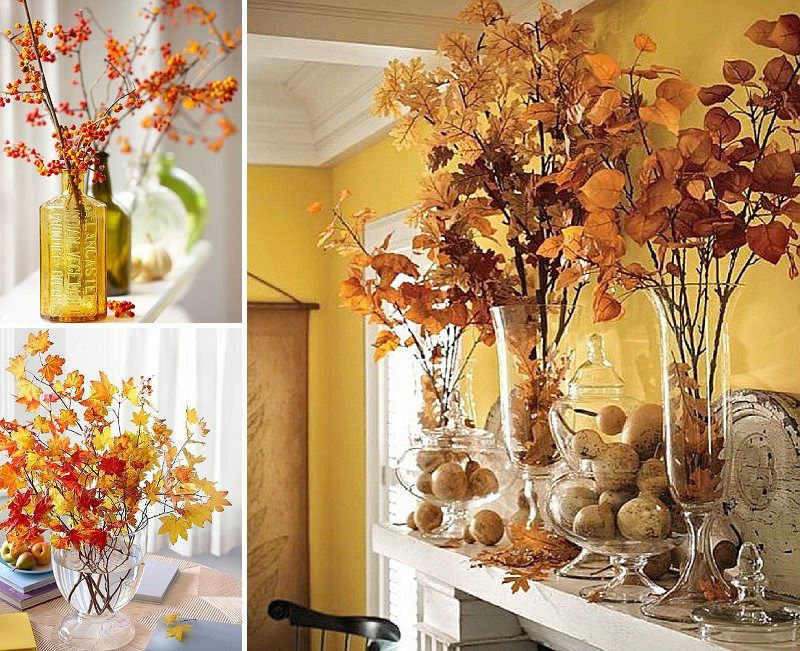 minimalist holiday decor - good base items as part of your regular decor that you can just customize for each holiday or season | fall branches, fall decor