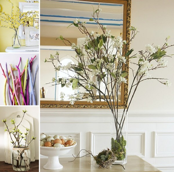 minimalist holiday decor - good base items as part of your regular decor that you can just customize for each holiday or season | spring branches, spring decor