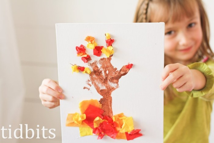Tissue Paper Tree Art | Hand print art for kids.