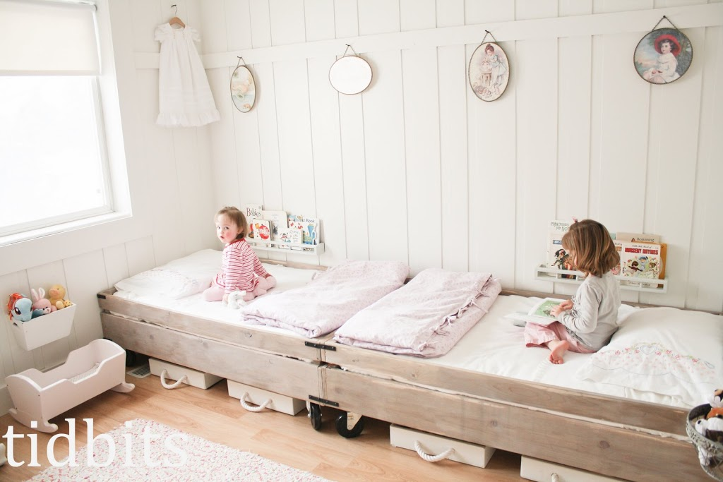 Little Girls Shared Bedroom - Small Space Makeover - Tidbits