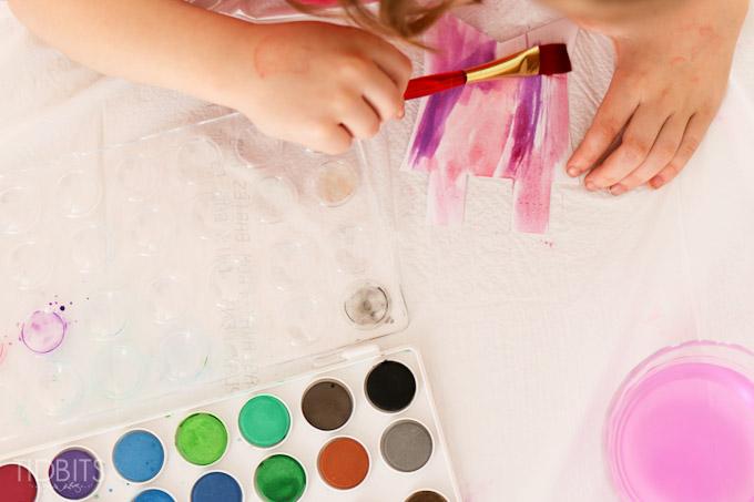 Spring Kids Craft Watercolor Banner Tidbits-4