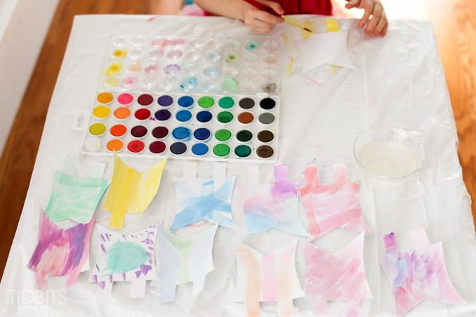 Spring Kids Craft Watercolor Banner Tidbits-5