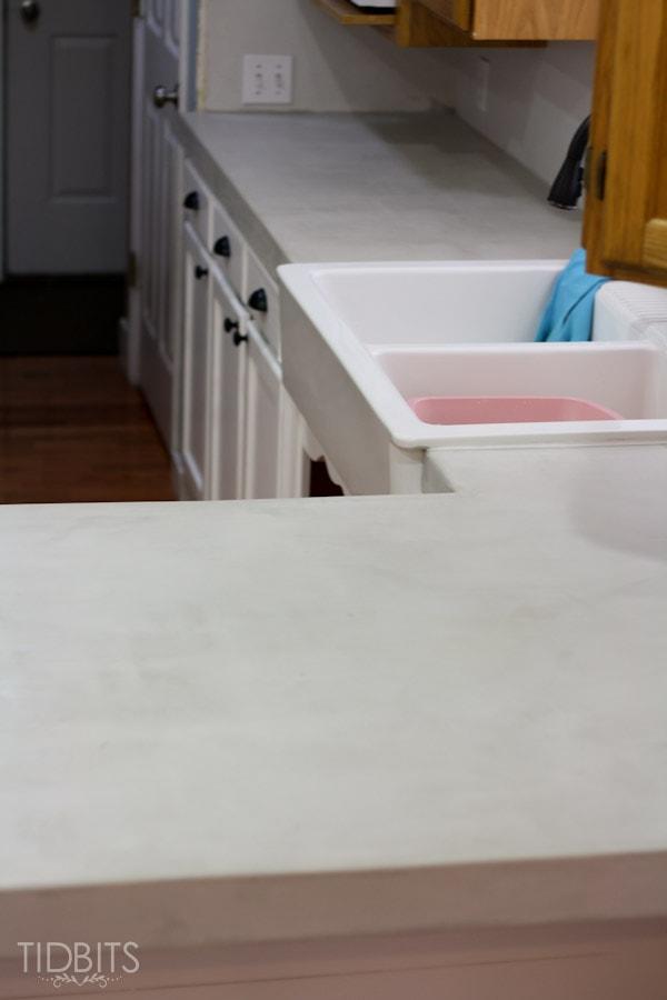 Feather Finish Faux Concrete Countertops 15