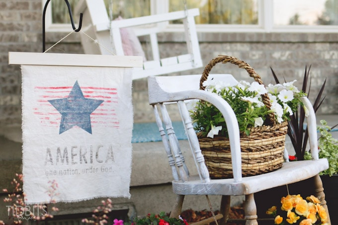 Patriotic Vintage Garden Flag tutorial, featuring a ink transfer technique.