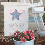 Patriotic Vintage Garden Flag | Ink Transfer Technique
