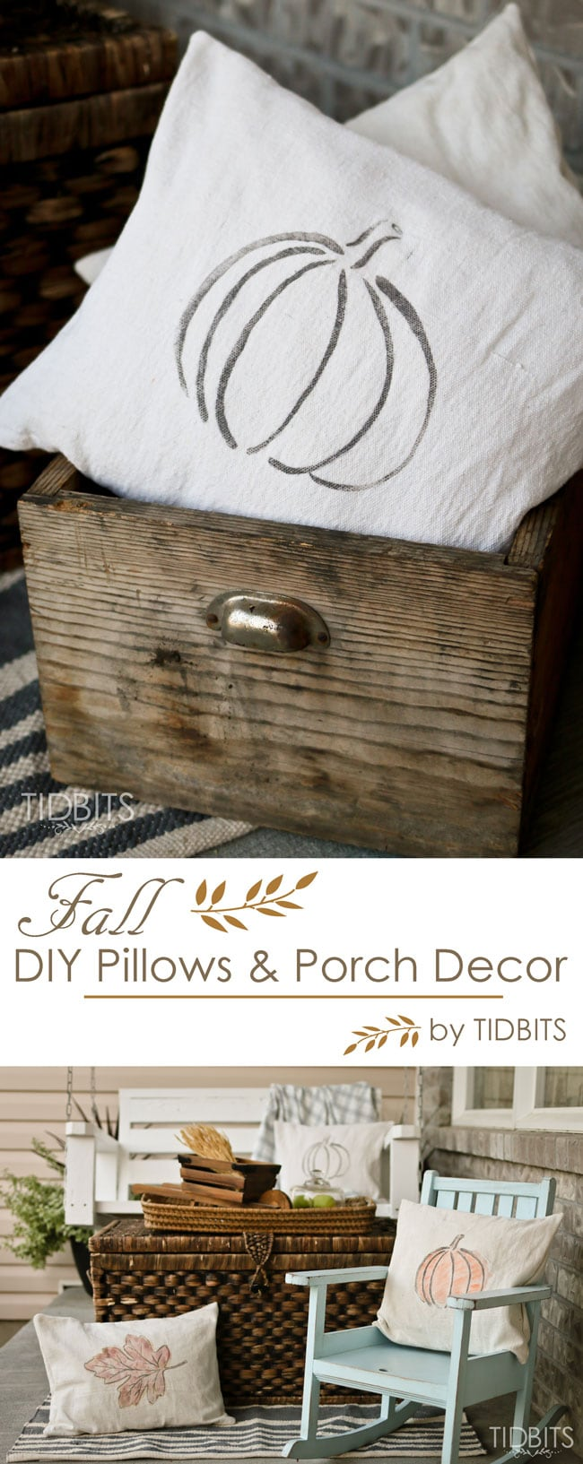 Get the free printables to make your own custom Fall pillows, and find inspiration for your Fall front porch decor.