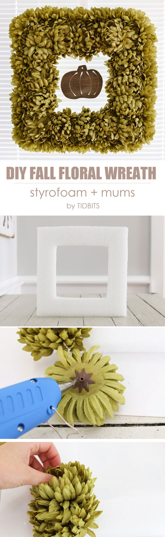 Easy DIY Fall floral wreath made from sytrofoam and artificial mums.