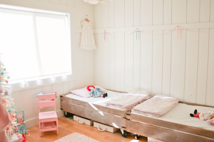 A Cottage Christmas Home Tour - Touches of a pastel Christmas in a shared girls room.