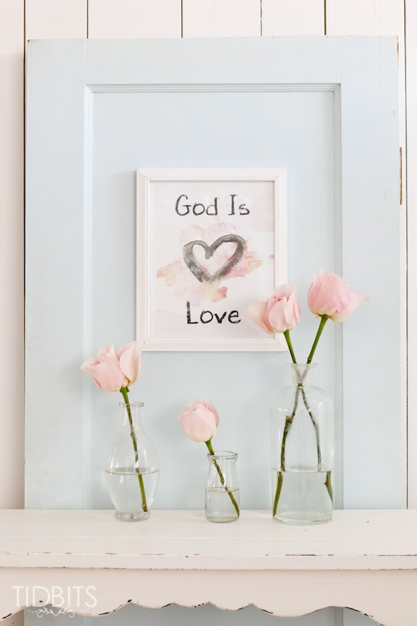 "Enjoy this FREE Valentine Printable and remind your family that ""God is Love"".  Blue and Pink versions available."